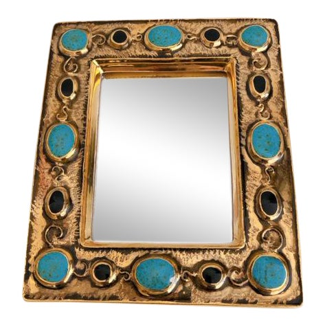 Françoise Lembo Gold & Jeweled Mirror For Sale
