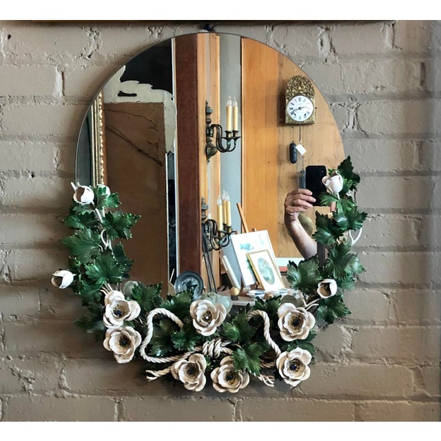 Vintage 1940s Round Hollywood Regency Tole Wall Mirror For Sale - Image 10 of 10