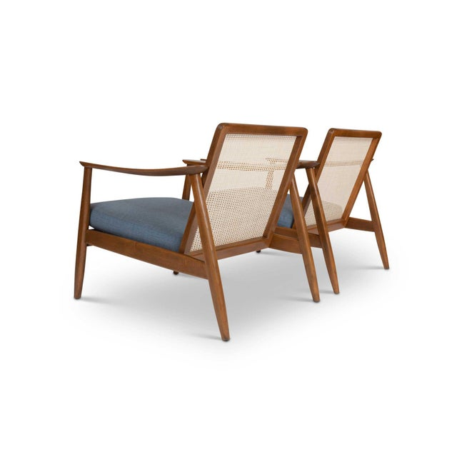 Beautiful pair of 1960s Danish Modern lounge chairs designed by Folke Ohlsson for DUX. Exceptional condition with a nice...