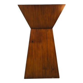 Mid-Century Geometric Wood Accent Table/ Pedestal For Sale