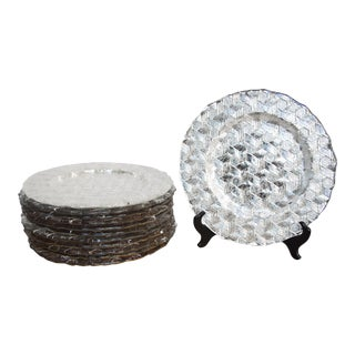 Set of Twelve Silver Charger Plates with Basket Weave Design