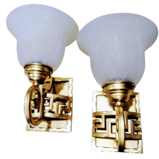 A Pair Iron Greek Key Gold Metallic and Frosted Glass Wall Sconces Lights For Sale
