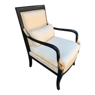 Ethan Allen Dolphin Federal Black/Gold Trim Upholstered Arm Chair For Sale