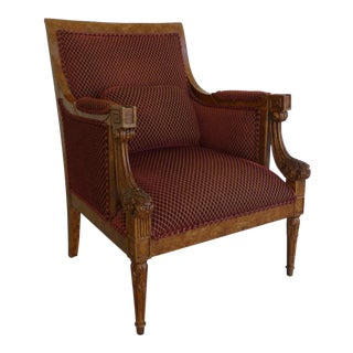 Vintage Bergere Chair With Burl Wood For Sale