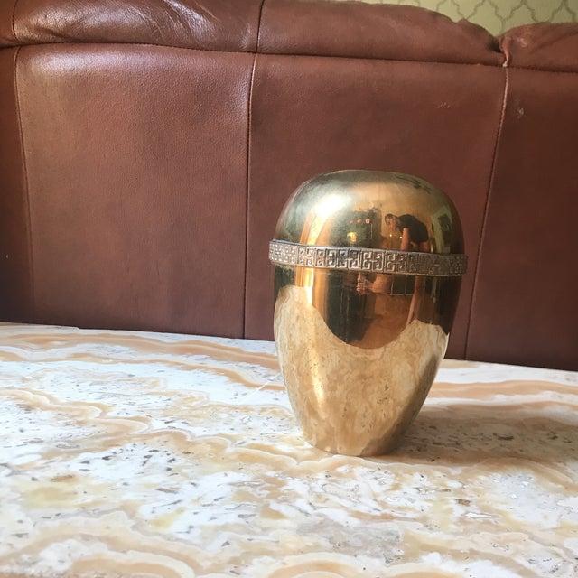 1970s Modernist Brass Greek Key Vase For Sale - Image 4 of 5