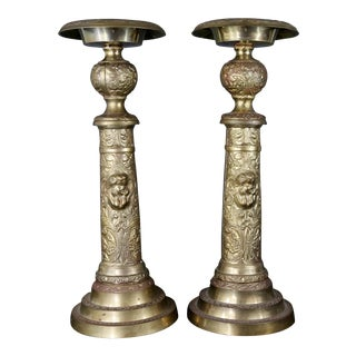 Vintage Brass Cherub Candlesticks - A Pair For Sale