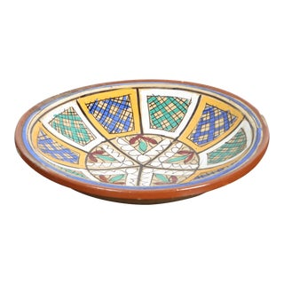 Hand-Painted Moroccan Antique Pottery Bowl For Sale