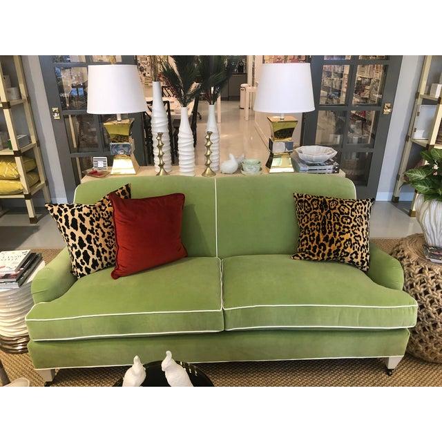 "Luxurious velvet apartment sofa in custom ""Lucious Pear""velvet main fabric with ""Daydream- White"" as the contrast welt...."