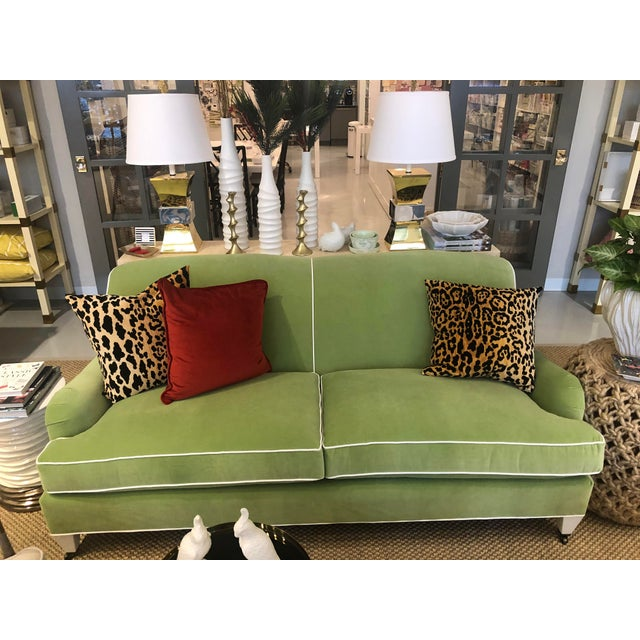 "Tarlton apartment sofa in custom ""Lucious Pear""velvet main fabric with ""Daydream- White"" as the contrast welt. Low profile..."