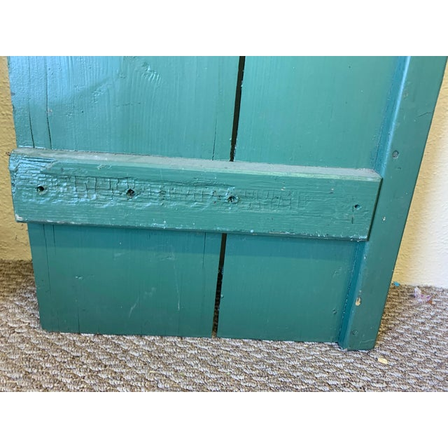 Large Antique Green Painted Window Shutters With Heart Cutouts - a Pair For Sale - Image 9 of 13