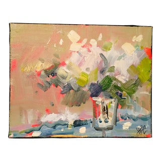 1980s Small Abstract Floral Still Life Painting For Sale