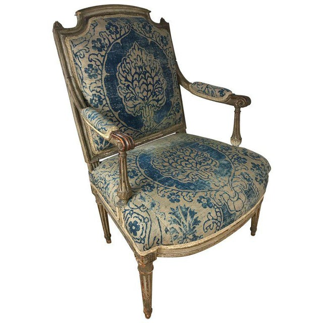 18th Century Louis XVI Bergere Chair With Fortuny Upholstery - Image 8 of 8
