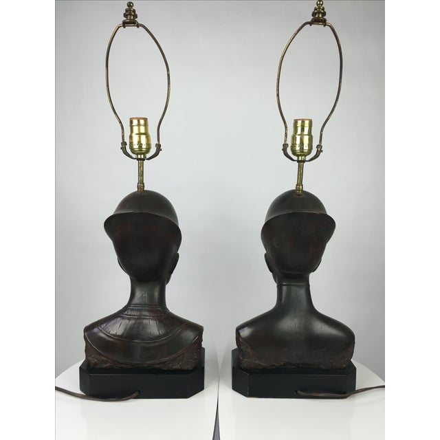 Hollywood Regency Haruil Bronzed Egyptian Pharaoh Table Lamps - Pair For Sale - Image 3 of 9