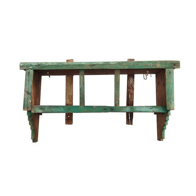 "37"" vintage Moroccan spice shelf. Wonderful patina in the original rich pistachio green finish."
