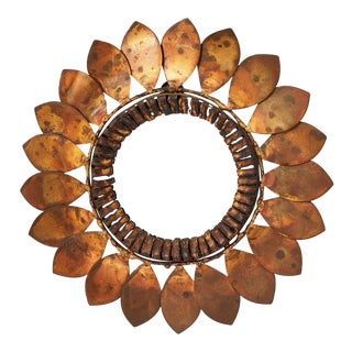 C. Jere Mixed Metal 'Sunflower' Vanity Mirror, 1968 For Sale