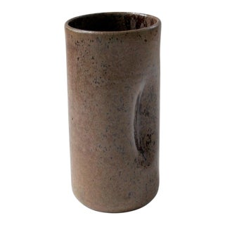 Cole Pottery Brown Dimpled Organic-Shaped Ceramic Vase For Sale