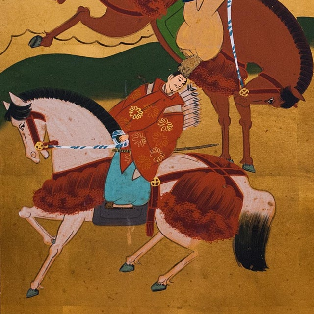 "1940s Shōwa Era ""The Tale of Genji"" Gold-Leaf Japanese Byobu Screen For Sale - Image 5 of 13"