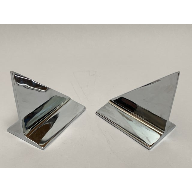 1960s Mid-Century Abstract Modern Chrome Bookends - a Pair For Sale - Image 5 of 13