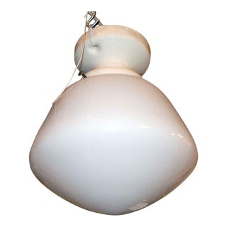 Simple School House Glass Globe with Porcelain Fitter For Sale