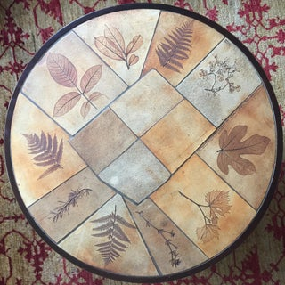 Signed 1960s Coffee Table by Raymonde Leduc with Leaf Motif Preview