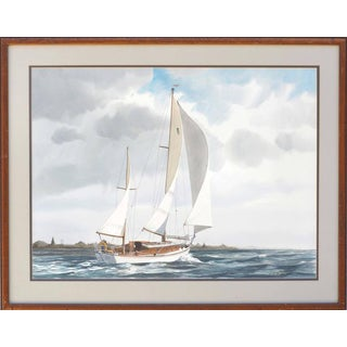 1980s Chesapeake Bay Sailboat Seascape Watercolor Painting by James Drake Iams, Framed For Sale