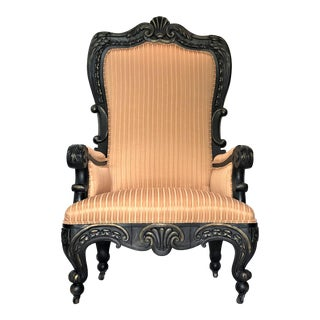 19th Century Georgian Ebonized Parcel Gilt Mahogany Throne Chair For Sale