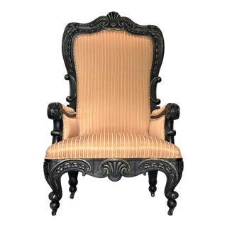 19th Century Georgian Ebony & Parcel Gilt Mahogany Throne Chair For Sale
