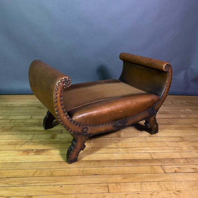 1930s Otto Schulz Leather & Sheepskin Footstool, Boet, Sweden For Sale In New York - Image 6 of 11