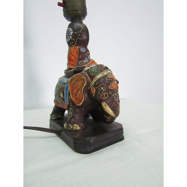 Asian Vintage Enamel Satsuma Moriage Elephant Lamp With Shade For Sale - Image 3 of 7