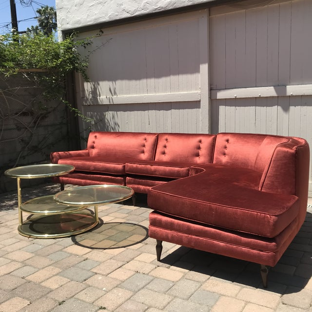 Mid-Century Probber Style Velvet Sectional Sofa For Sale - Image 11 of 12
