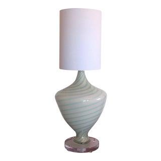 Alfredo Barbini White and Turquoise Murano Glass Lamp For Sale