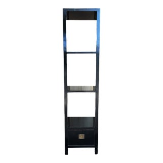 Asian Black Lacquer Wood Display Stand With Shelves For Sale