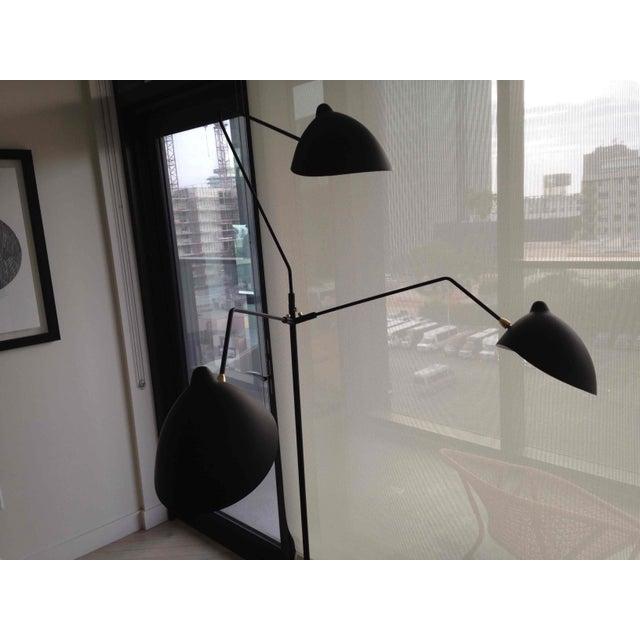 Boho Chic Black Three Light Floor Lamp For Sale - Image 3 of 4