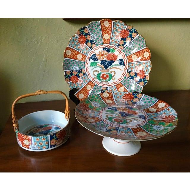 Blue Japanese Imari Porcelain Serving Dishes - Set of 3 For Sale - Image 8 of 13
