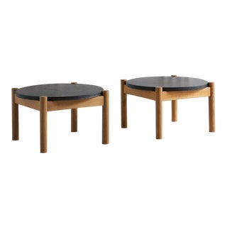 Wood + Granite Coffee Table by Sentou For Sale