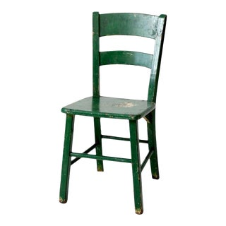 Antique Green Painted Wooden Chair For Sale