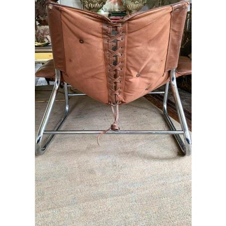 Mid 20th Century Mid Century Chrome and Leather Corset Tie Back Sling Chair For Sale - Image 5 of 13