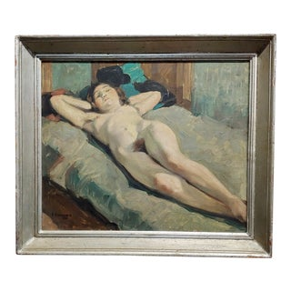 Henri Georges Troussard -Nude Sleeping Young Girl -Oil Painting 1931 For Sale