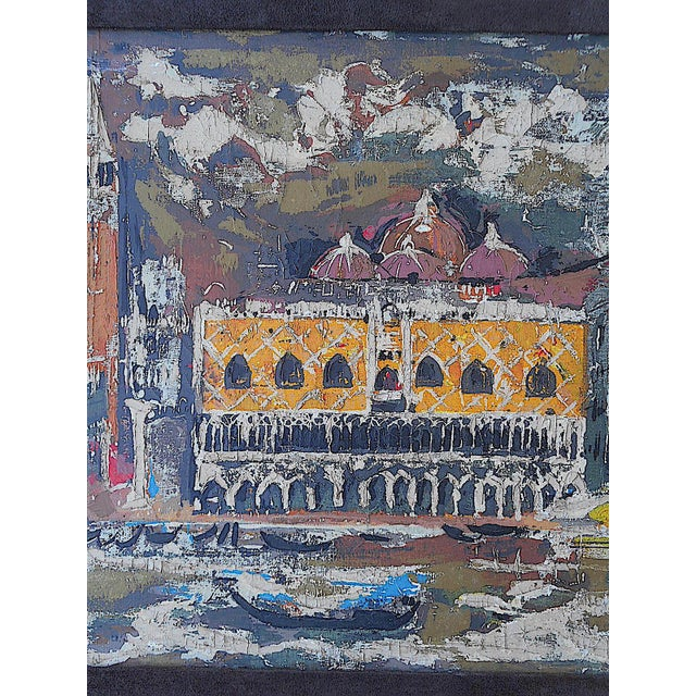 """Vintage Mid Century Original Expressionist Oil On Canvas-""""Venice"""" Cityscape-Framed - Image 4 of 7"""