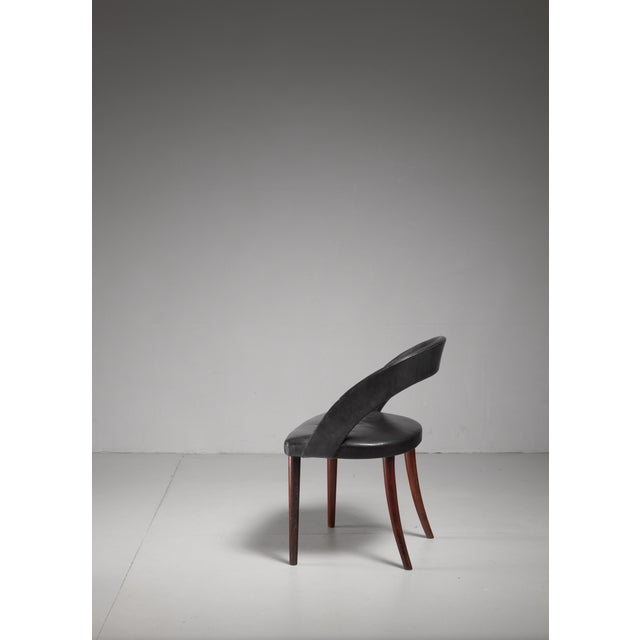 Illums Bolighus Frode Holm Rosewood and Black Leather Vanity Chair, Denmark, 1950s For Sale - Image 4 of 6