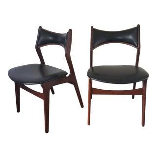 Vintage Mid-Century Danish Modern Erik Buch Chairs - a Pair For Sale