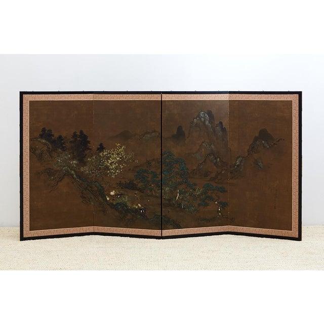 Japanese Four Panel Landscape Byobu Screen For Sale - Image 12 of 13