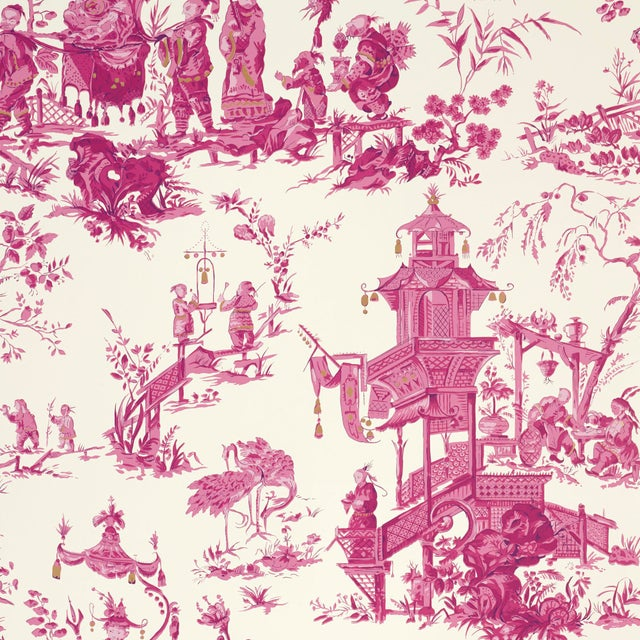 Asian Sample - Schumacher Chinois Wallpaper in Peony For Sale - Image 3 of 5