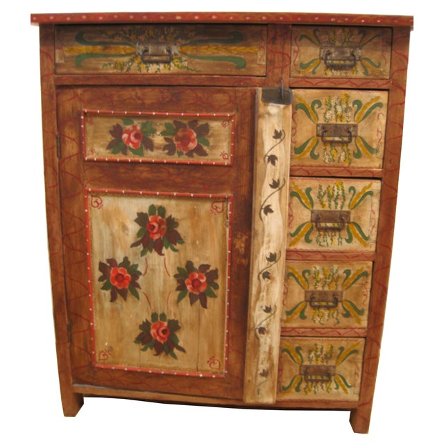 1880s Painted Pennsylvania Dutch Cabinet - Image 1 of 7