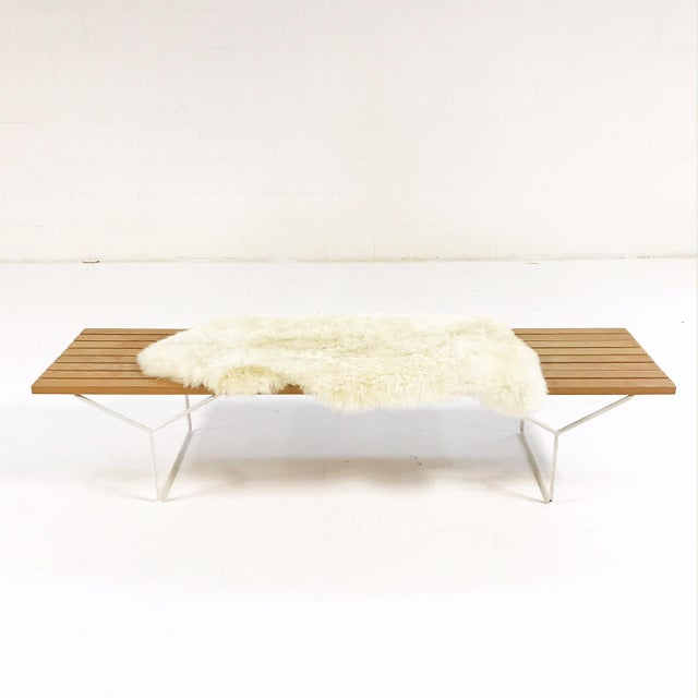 This is a very cool vintage circa 1952 Harry Bertoia for Knoll Slat Bench, Model Number 400. We added one of our beautiful...