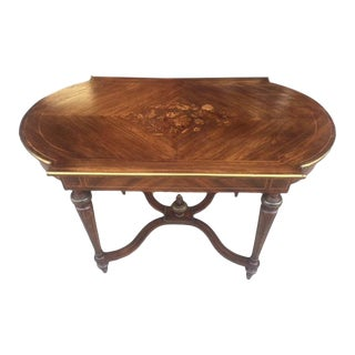 1890s French Inlaid Table With Stretcher For Sale