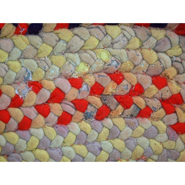 """1930s Handmade Antique American Braided Rug - 1'3"""" x 2'4"""" For Sale In New York - Image 6 of 10"""