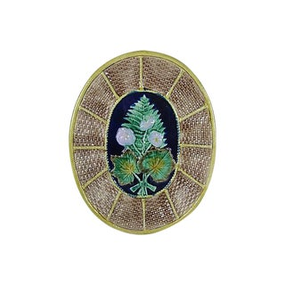 19th Century English Majolica Fern and Floral, Wicker Basket Form Cheese Board Platter For Sale