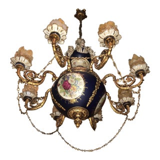 Painted Porcelain Chandelier Meissen Style Le Belvedere Estate For Sale