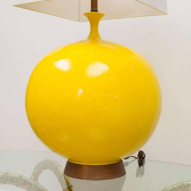 Round Yellow Ceramic Lamp For Sale - Image 4 of 9